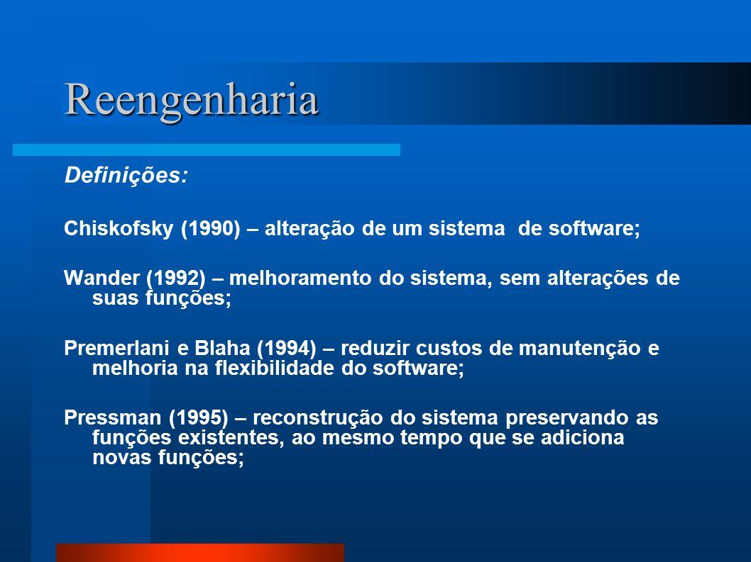 Reengenharia Definições: Chiskofsky (1990) – alteração de um sistema de software; Wander (1992) – melhoramento do sistema, sem alterações de suas funç