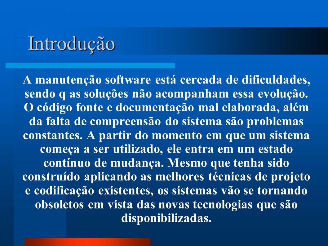 A manutenção software está cercada de dificuldades, sendo q as soluções não acompanham essa evolução. O código fonte e documentação mal elaborada, alé