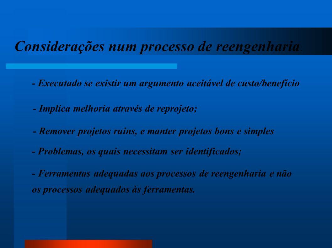Considerações num processo de reengenharia : - Executado se existir um argumento aceitável de custo/benefício - Implica melhoria através de reprojeto;
