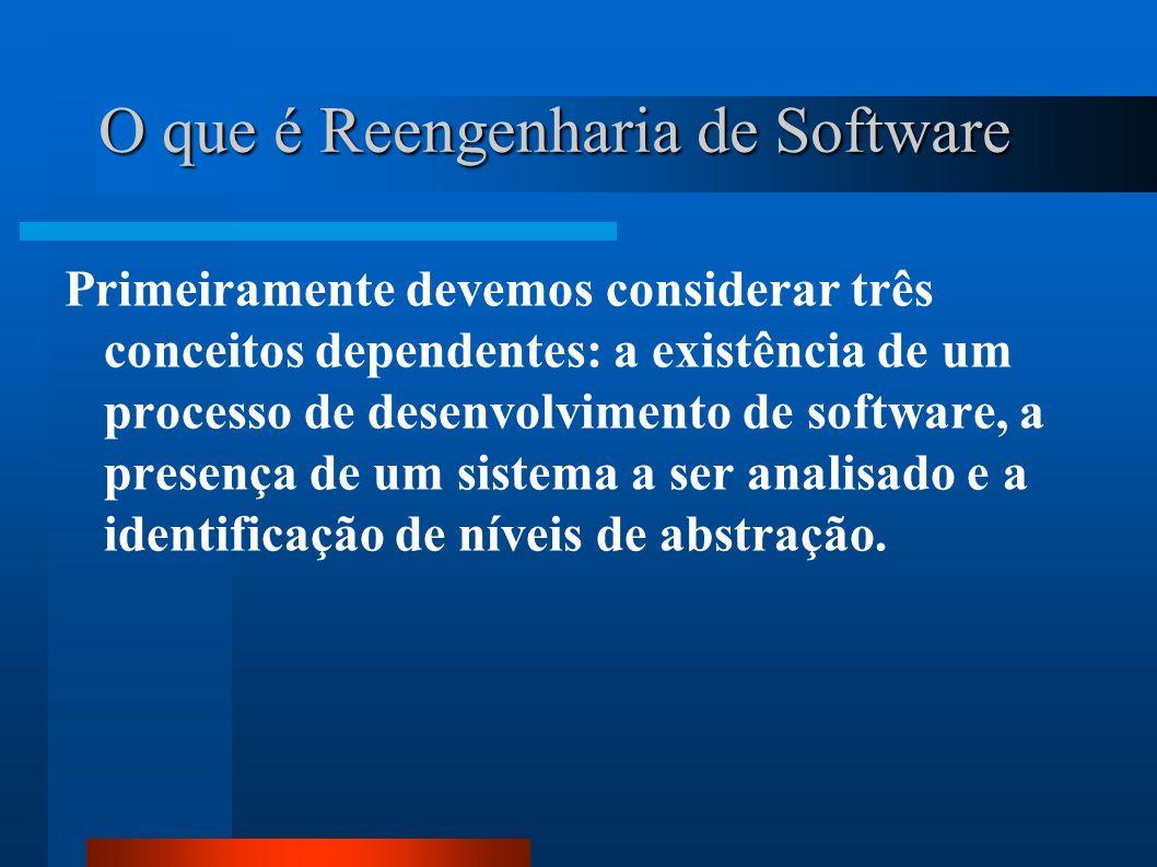 O que é Reengenharia de Software Primeiramente devemos considerar três conceitos dependentes: a existência de um processo de desenvolvimento de softwa