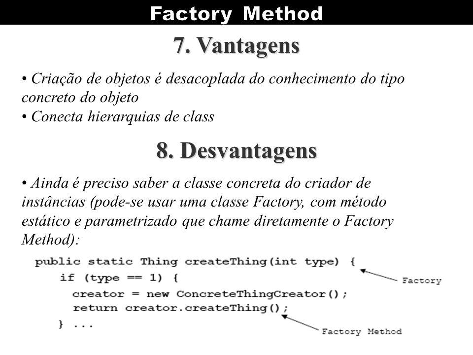 Criação de objetos é desacoplada do conhecimento do tipo concreto do objeto Conecta hierarquias de class Ainda é preciso saber a classe concreta do cr