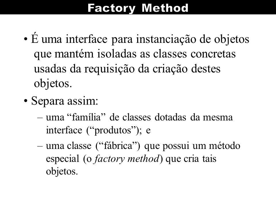 É uma interface para instanciação de objetos que mantém isoladas as classes concretas usadas da requisição da criação destes objetos. Separa assim: –u
