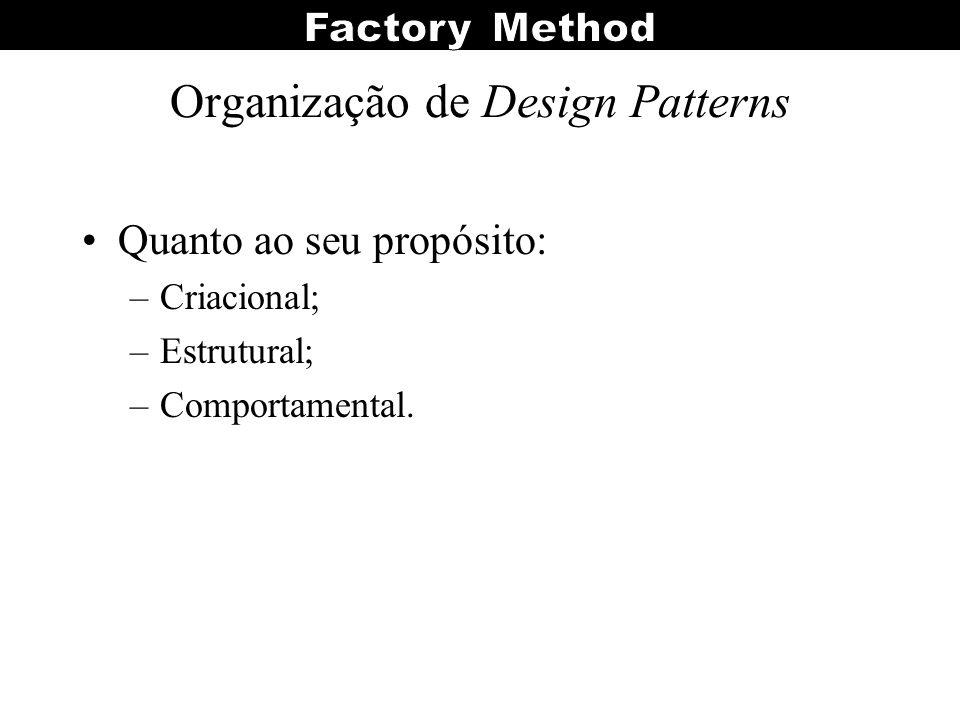 Organização de Design Patterns Quanto ao seu propósito: –Criacional; –Estrutural; –Comportamental.