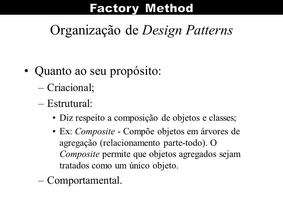 Organização de Design Patterns Quanto ao seu propósito: –Criacional; –Estrutural: Diz respeito a composição de objetos e classes; Ex: Composite - Comp