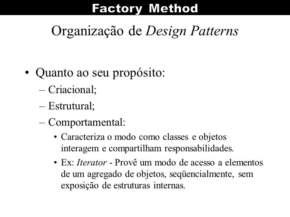 Organização de Design Patterns Quanto ao seu propósito: –Criacional; –Estrutural; –Comportamental: Caracteriza o modo como classes e objetos interagem