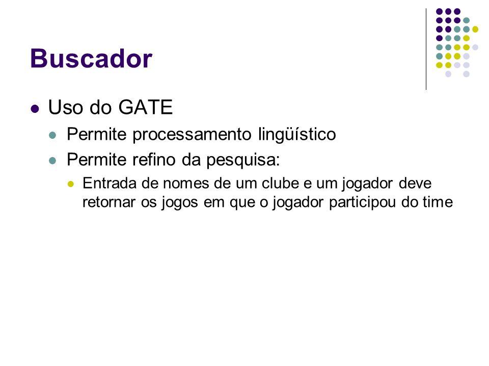 Uso do GATE Permite processamento lingüístico Permite refino da pesquisa: Entrada de nomes de um clube e um jogador deve retornar os jogos em que o jogador participou do time