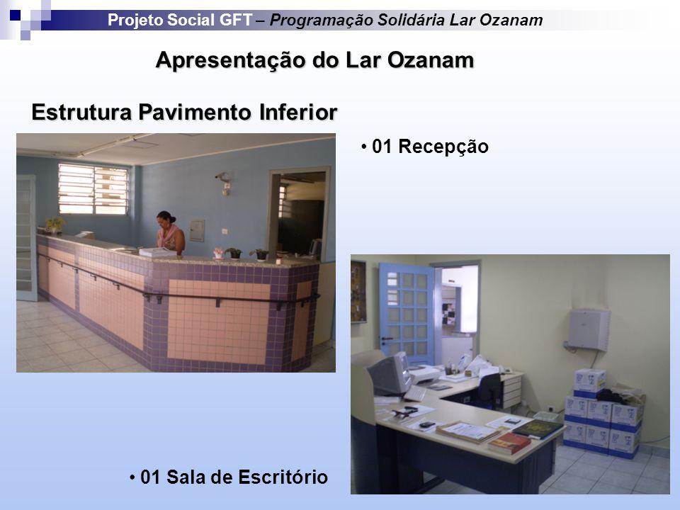 Apresentação do Lar Ozanam Estrutura Pavimento Inferior Projeto Social GFT – Programação Solidária Lar Ozanam 01 Recepção 01 Sala de Escritório