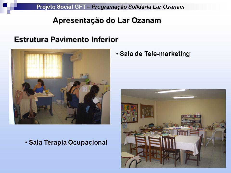 Apresentação do Lar Ozanam Projeto Social GFT – Programação Solidária Lar Ozanam Estrutura Pavimento Inferior Sala de Tele-marketing Sala Terapia Ocupacional