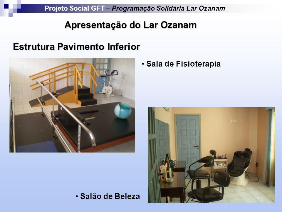 Apresentação do Lar Ozanam Estrutura Pavimento Inferior Projeto Social GFT – Programação Solidária Lar Ozanam Sala de Fisioterapia Salão de Beleza