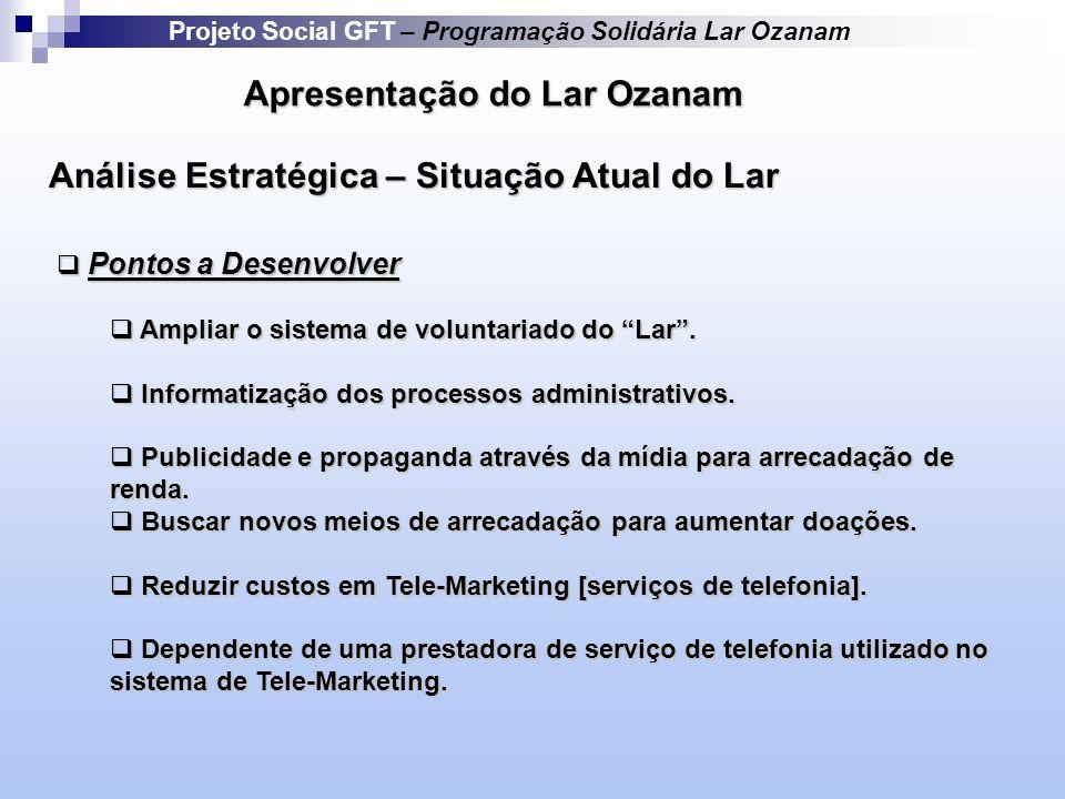Apresentação do Lar Ozanam Pontos a Desenvolver Pontos a Desenvolver Ampliar o sistema de voluntariado do Lar.