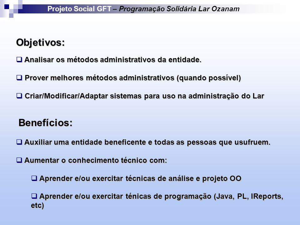 Objetivos: Analisar os métodos administrativos da entidade.