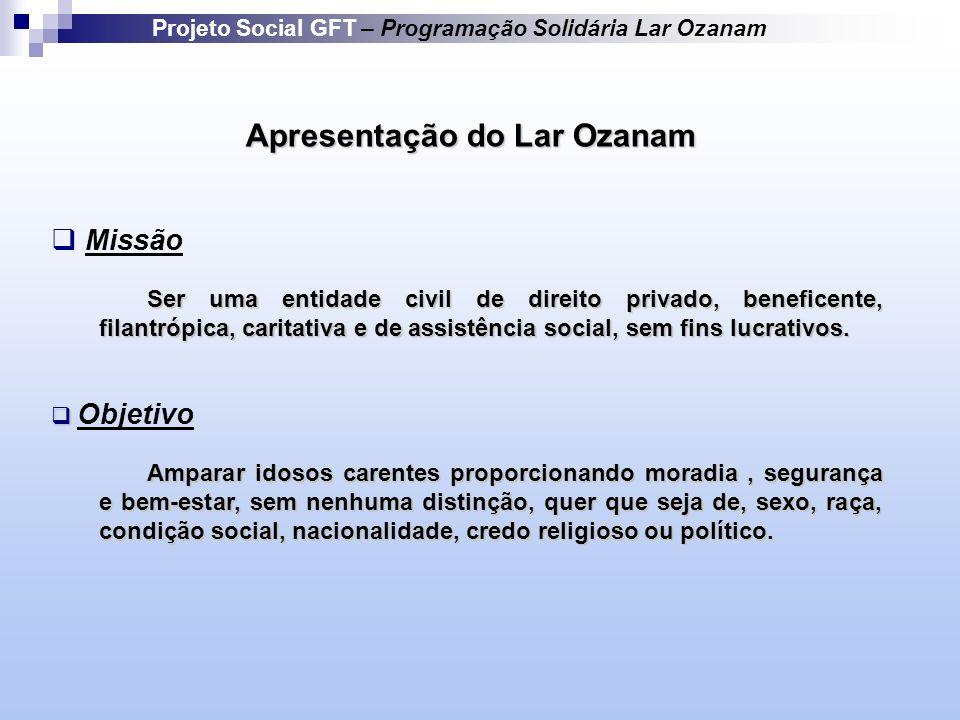 Apresentação do Lar Ozanam Missão Ser uma entidade civil de direito privado, beneficente, filantrópica, caritativa e de assistência social, sem fins lucrativos.