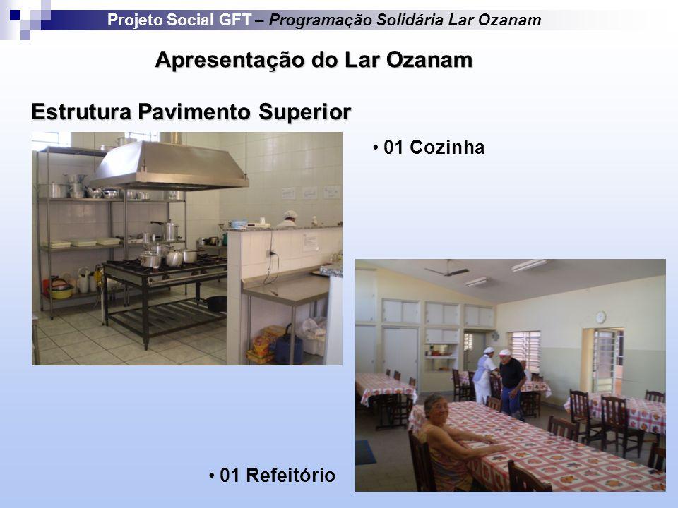 Apresentação do Lar Ozanam Estrutura Pavimento Superior Projeto Social GFT – Programação Solidária Lar Ozanam 01 Cozinha 01 Refeitório