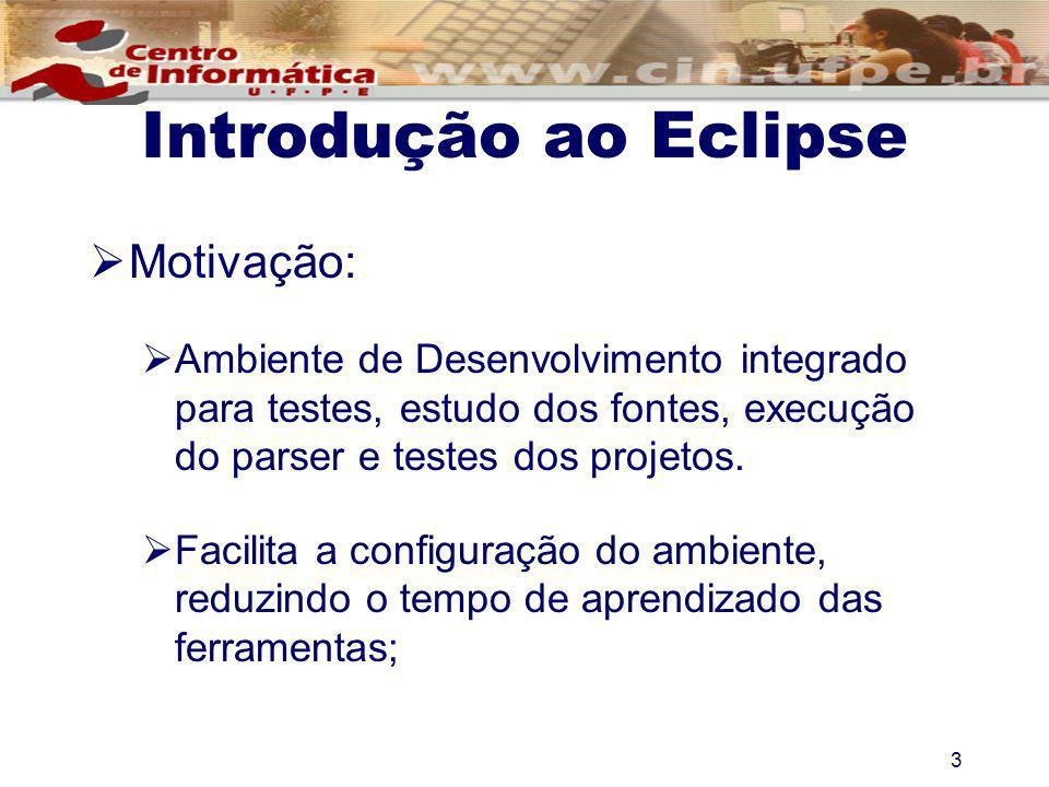 3 Introdução ao Eclipse Motivação: Ambiente de Desenvolvimento integrado para testes, estudo dos fontes, execução do parser e testes dos projetos. Fac