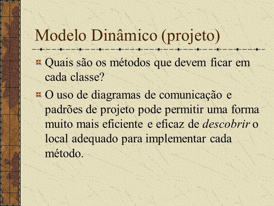 Modelo Dinâmico (projeto) Quais são os métodos que devem ficar em cada classe? O uso de diagramas de comunicação e padrões de projeto pode permitir um