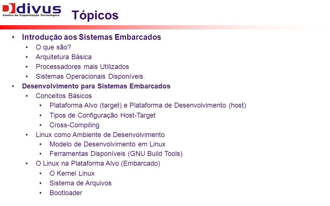Tópicos Introdução aos Sistemas Embarcados O que são? Arquitetura Básica Processadores mais Utilizados Sistemas Operacionais Disponíveis. Desenvolvime