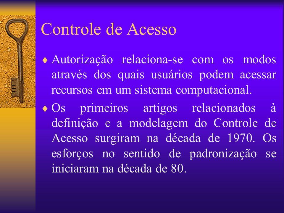 Controle de Acesso Autorização relaciona-se com os modos através dos quais usuários podem acessar recursos em um sistema computacional. Os primeiros a