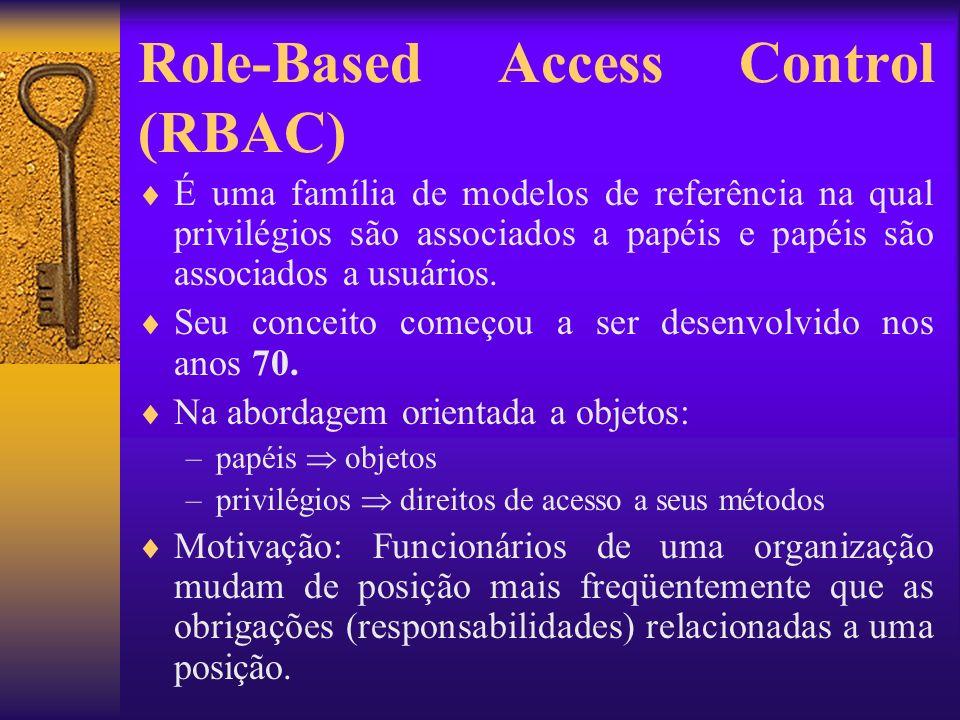 Role-Based Access Control (RBAC) É uma família de modelos de referência na qual privilégios são associados a papéis e papéis são associados a usuários
