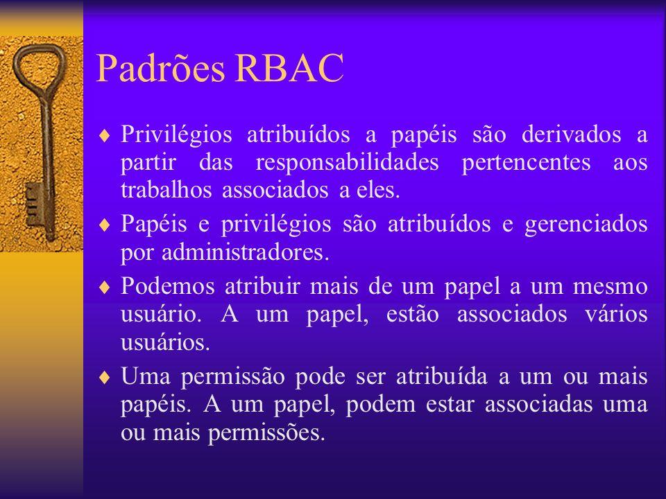 RBAC2: Constrained RBAC user_sessionssession_roles (UA) User Assignment (PA) Permission Assignment USERSOBSOPS SESSIONS ROLES Permissions SSD DSD O nível 2 de RBAC do padrão prevê dois tipos de separação de deveres: –Separação Estática de Deveres (Static Separation of Duty) –Separação Dinâmica de Deveres (Dynamic Separation of Duty)