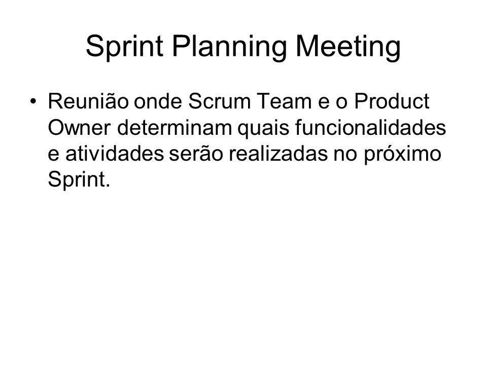 Sprint Planning Meeting Reunião onde Scrum Team e o Product Owner determinam quais funcionalidades e atividades serão realizadas no próximo Sprint.