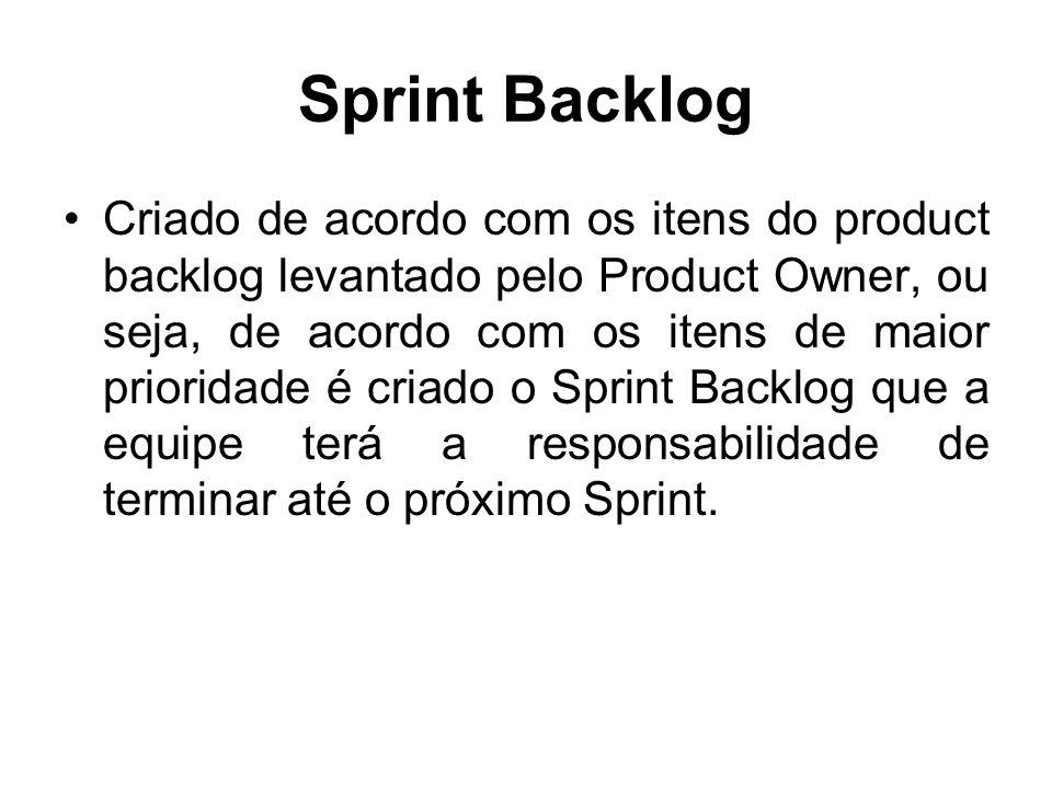 Sprint Backlog Criado de acordo com os itens do product backlog levantado pelo Product Owner, ou seja, de acordo com os itens de maior prioridade é cr