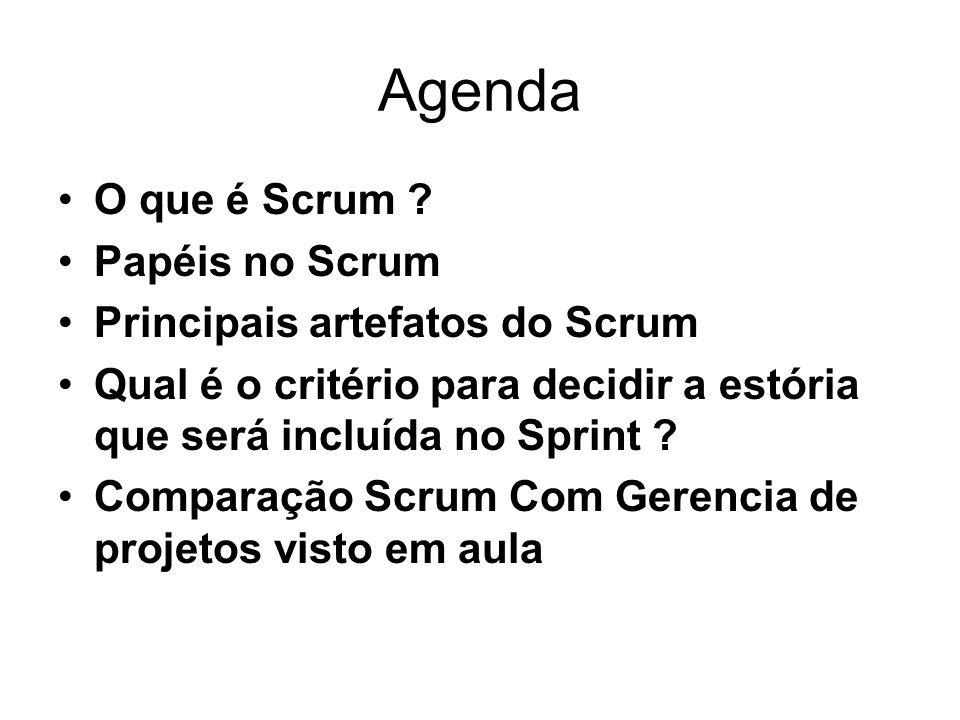 Agenda O que é Scrum ? Papéis no Scrum Principais artefatos do Scrum Qual é o critério para decidir a estória que será incluída no Sprint ? Comparação