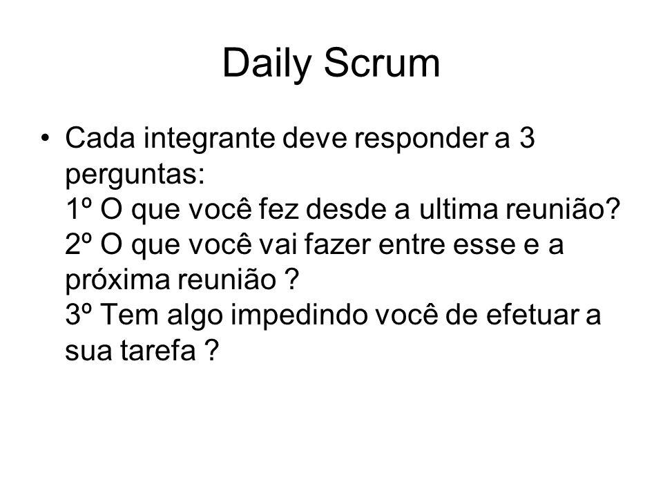 Daily Scrum Cada integrante deve responder a 3 perguntas: 1º O que você fez desde a ultima reunião? 2º O que você vai fazer entre esse e a próxima reu