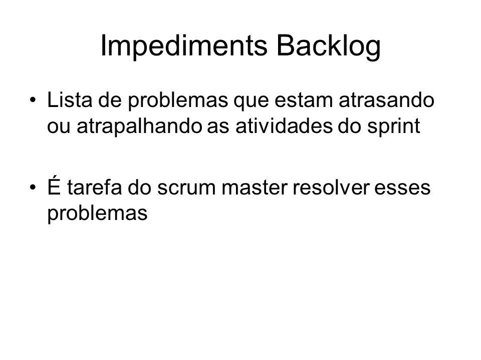 Impediments Backlog Lista de problemas que estam atrasando ou atrapalhando as atividades do sprint É tarefa do scrum master resolver esses problemas