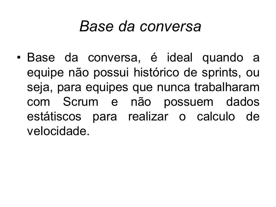 Base da conversa Base da conversa, é ideal quando a equipe não possui histórico de sprints, ou seja, para equipes que nunca trabalharam com Scrum e nã