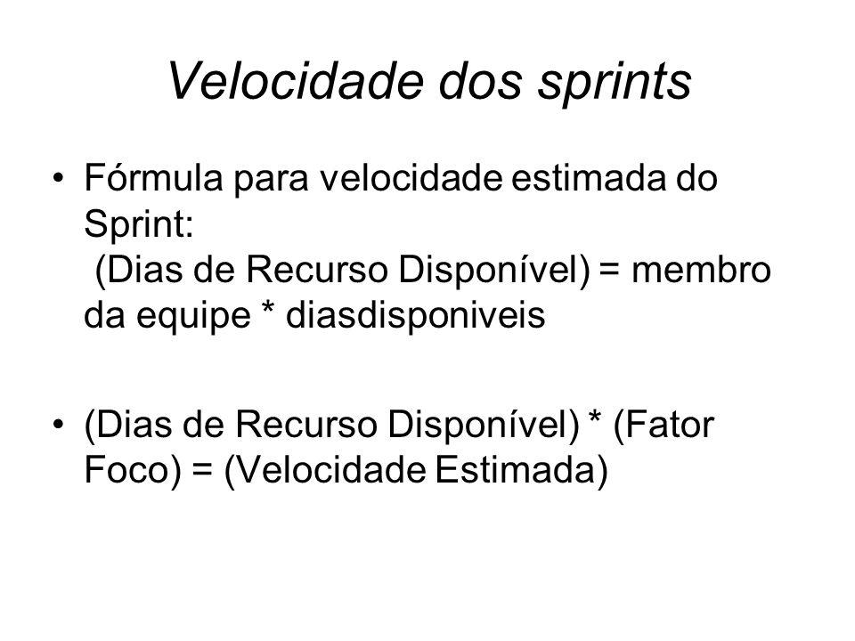 Velocidade dos sprints Fórmula para velocidade estimada do Sprint: (Dias de Recurso Disponível) = membro da equipe * diasdisponiveis (Dias de Recurso