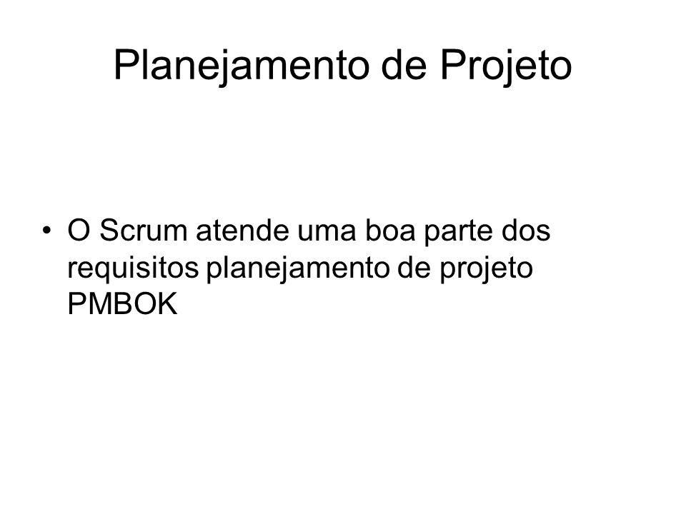 Planejamento de Projeto O Scrum atende uma boa parte dos requisitos planejamento de projeto PMBOK