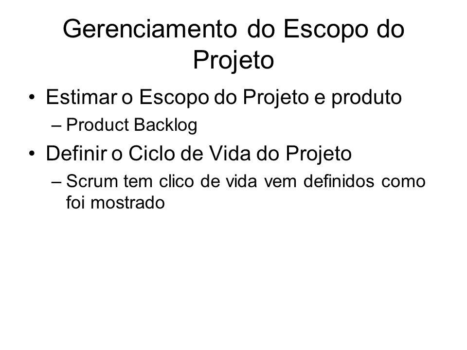 Gerenciamento do Escopo do Projeto Estimar o Escopo do Projeto e produto –Product Backlog Definir o Ciclo de Vida do Projeto –Scrum tem clico de vida