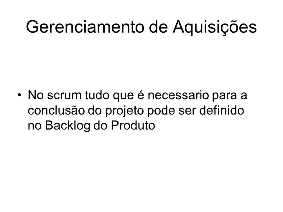 Gerenciamento de Aquisições No scrum tudo que é necessario para a conclusão do projeto pode ser definido no Backlog do Produto