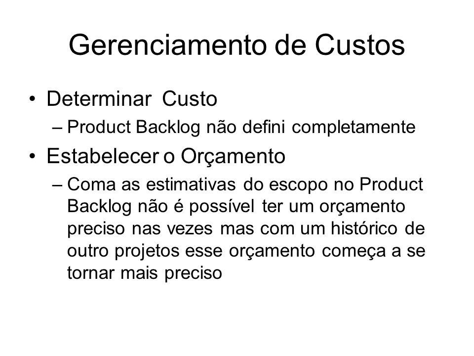 Gerenciamento de Custos Determinar Custo –Product Backlog não defini completamente Estabelecer o Orçamento –Coma as estimativas do escopo no Product B