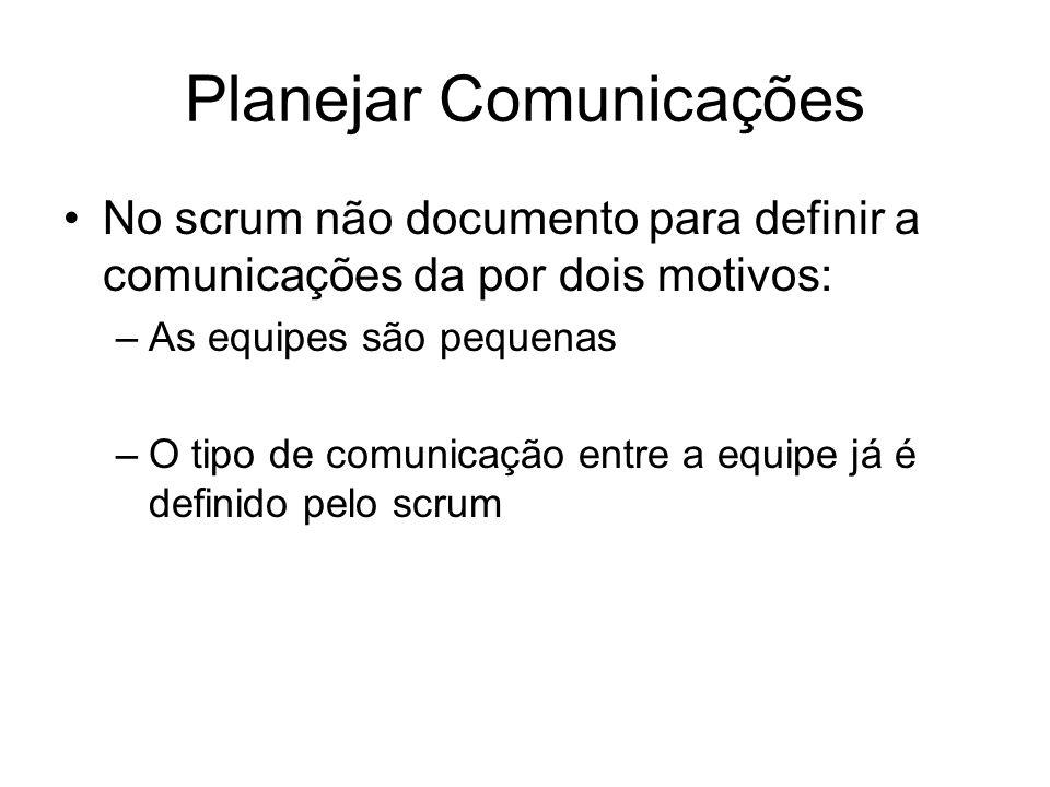 Planejar Comunicações No scrum não documento para definir a comunicações da por dois motivos: –As equipes são pequenas –O tipo de comunicação entre a