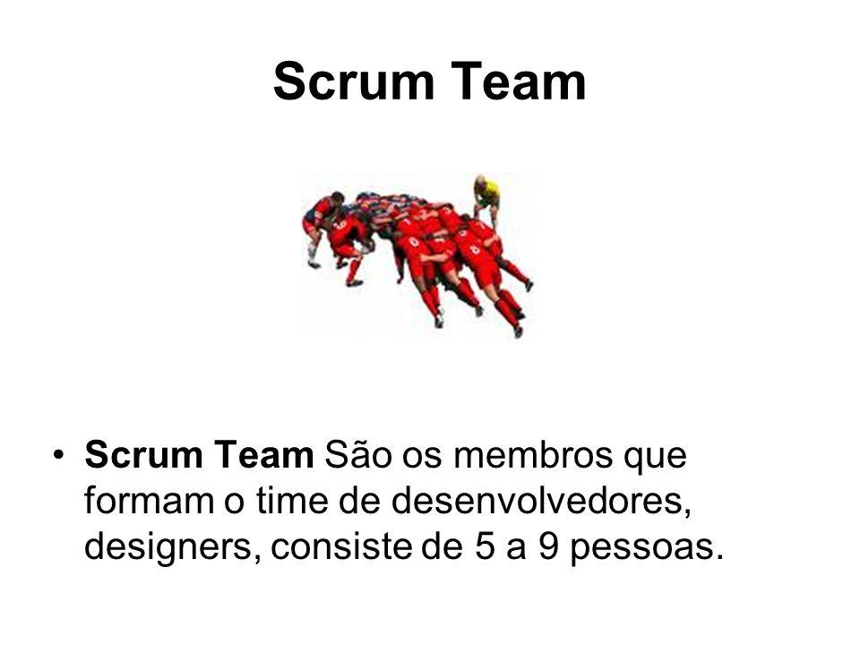Scrum Team Scrum Team São os membros que formam o time de desenvolvedores, designers, consiste de 5 a 9 pessoas.