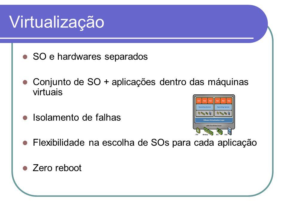 Virtualização SO e hardwares separados Conjunto de SO + aplicações dentro das máquinas virtuais Isolamento de falhas Flexibilidade na escolha de SOs p