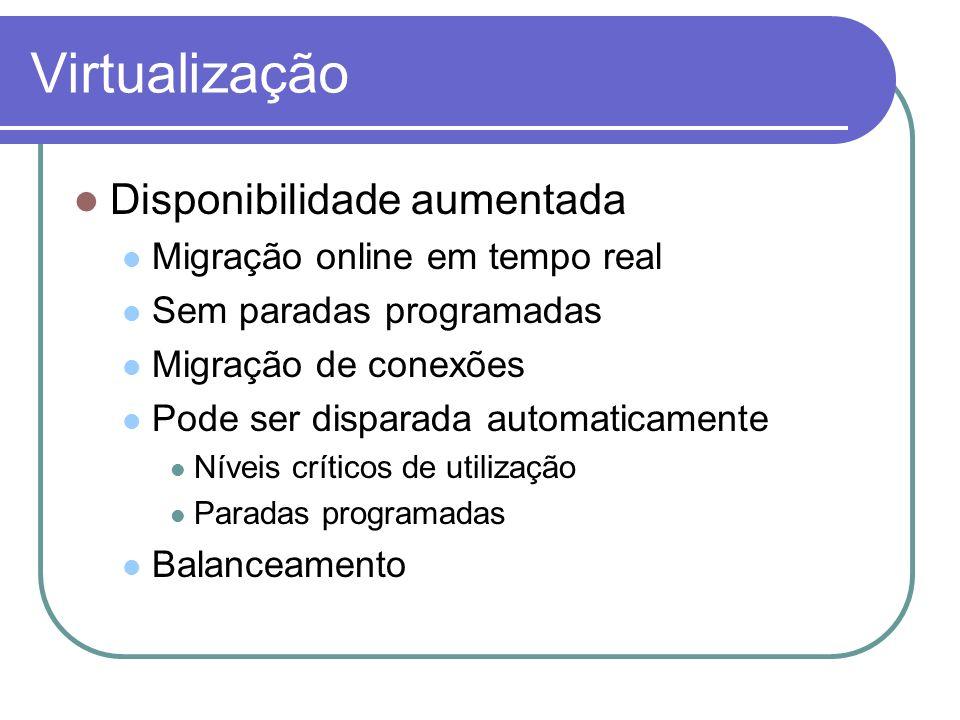 Virtualização Disponibilidade aumentada Migração online em tempo real Sem paradas programadas Migração de conexões Pode ser disparada automaticamente
