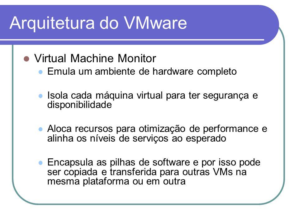 Arquitetura do VMware Virtual Machine Monitor Emula um ambiente de hardware completo Isola cada máquina virtual para ter segurança e disponibilidade A