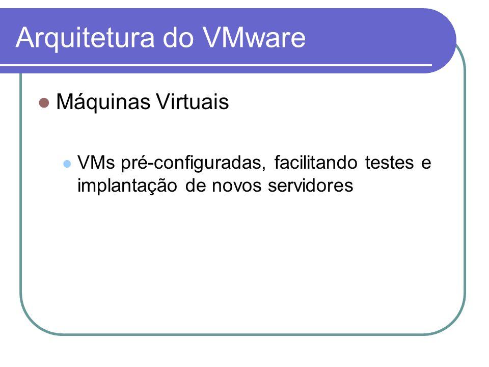 Arquitetura do VMware Máquinas Virtuais VMs pré-configuradas, facilitando testes e implantação de novos servidores