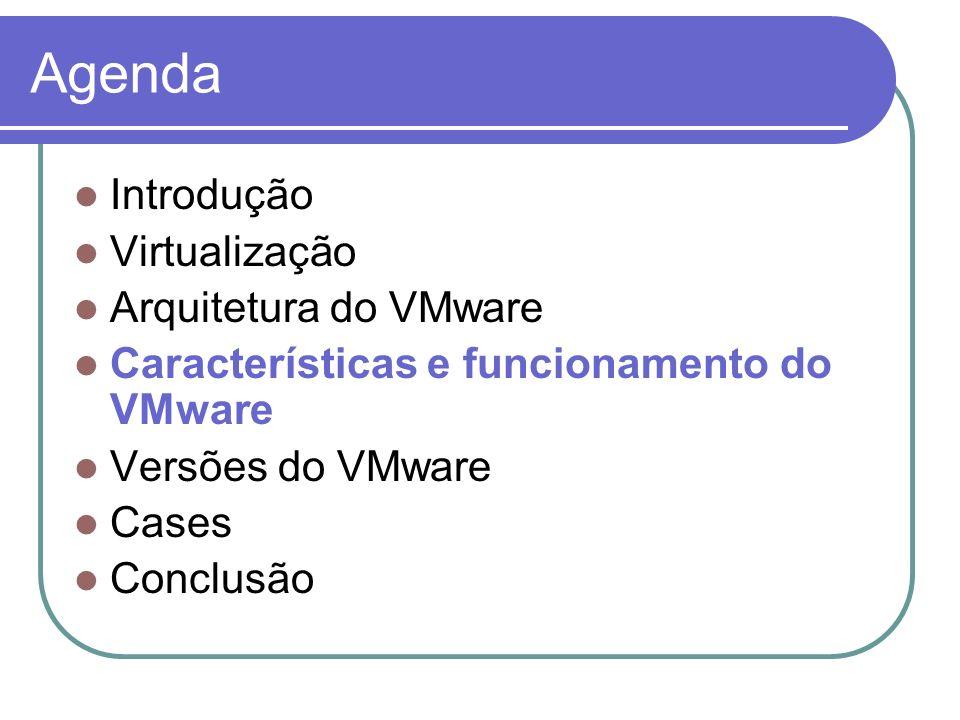 Agenda Introdução Virtualização Arquitetura do VMware Características e funcionamento do VMware Versões do VMware Cases Conclusão