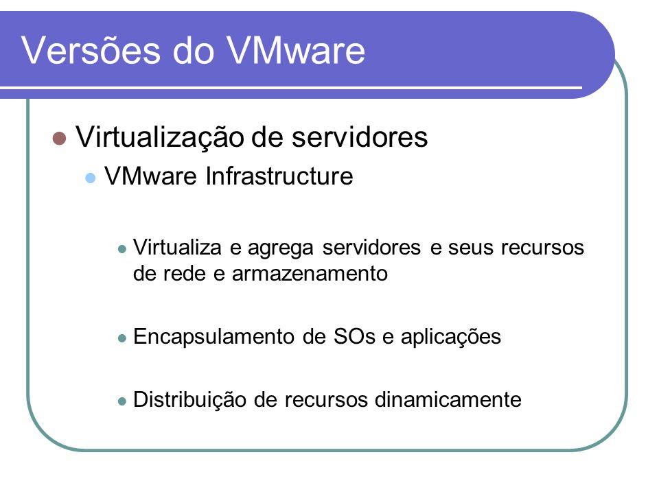Versões do VMware Virtualização de servidores VMware Infrastructure Virtualiza e agrega servidores e seus recursos de rede e armazenamento Encapsulame