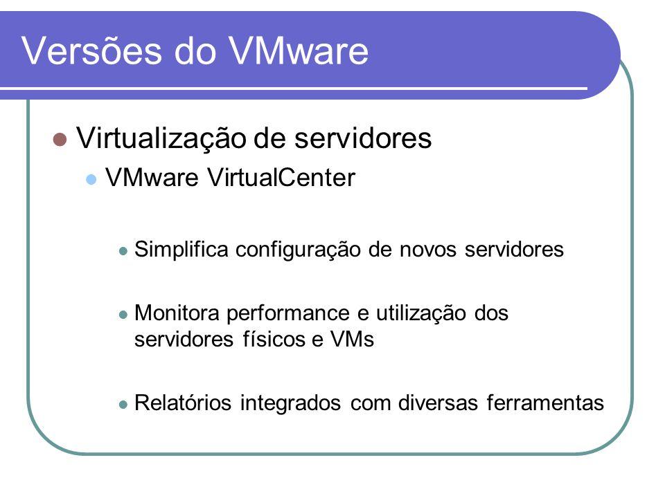 Versões do VMware Virtualização de servidores VMware VirtualCenter Simplifica configuração de novos servidores Monitora performance e utilização dos s