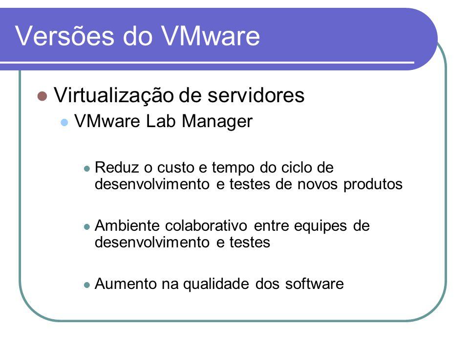 Versões do VMware Virtualização de servidores VMware Lab Manager Reduz o custo e tempo do ciclo de desenvolvimento e testes de novos produtos Ambiente