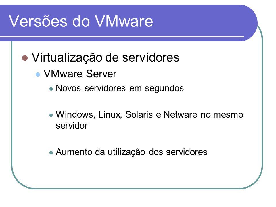 Versões do VMware Virtualização de servidores VMware Server Novos servidores em segundos Windows, Linux, Solaris e Netware no mesmo servidor Aumento d