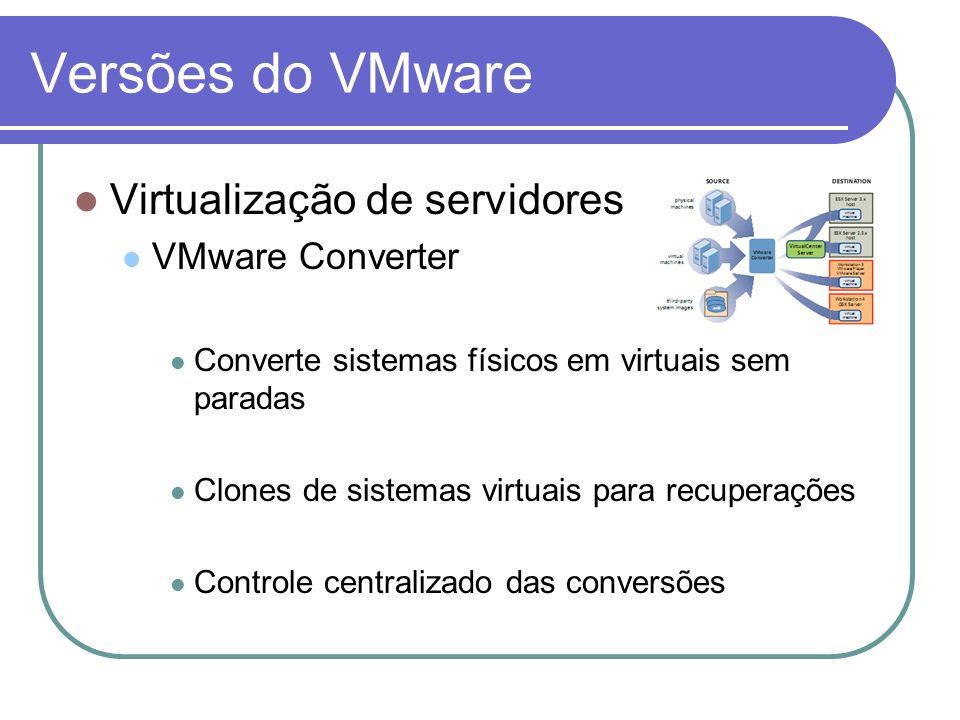 Versões do VMware Virtualização de servidores VMware Converter Converte sistemas físicos em virtuais sem paradas Clones de sistemas virtuais para recu
