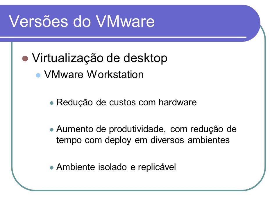 Versões do VMware Virtualização de desktop VMware Workstation Redução de custos com hardware Aumento de produtividade, com redução de tempo com deploy