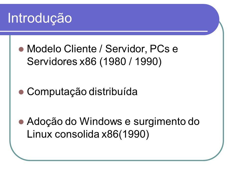 Modelo Cliente / Servidor, PCs e Servidores x86 (1980 / 1990) Computação distribuída Adoção do Windows e surgimento do Linux consolida x86(1990) Intro