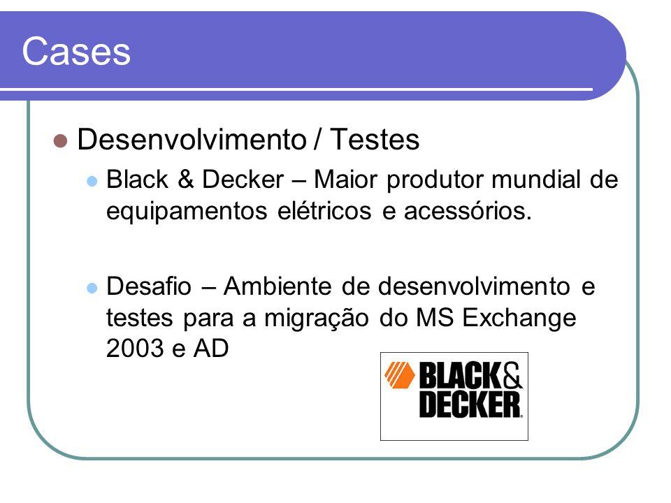 Cases Desenvolvimento / Testes Black & Decker – Maior produtor mundial de equipamentos elétricos e acessórios. Desafio – Ambiente de desenvolvimento e