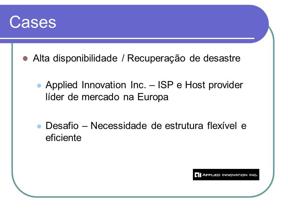 Cases Alta disponibilidade / Recuperação de desastre Applied Innovation Inc. – ISP e Host provider líder de mercado na Europa Desafio – Necessidade de